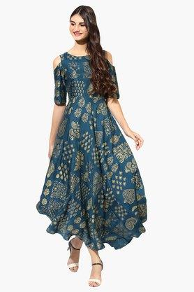 JUNIPER Womens Gold Printed Cold Shoulder Kurta - 203363080