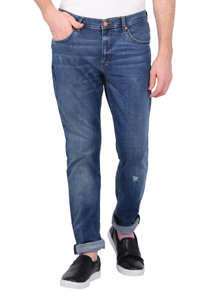 Mens 5 Pocket Whiskered Effect Jeans (Bruce Fit)
