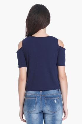 Womens Key Hole Neck Solid T-Shirts
