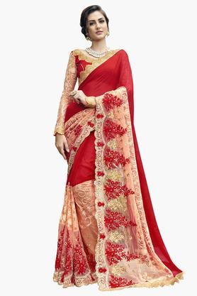 DEMARCAWomens Chiffon Embroidered Saree