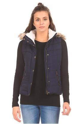AEROPOSTALEWomens Hooded Neck Solid Quilted Jacket