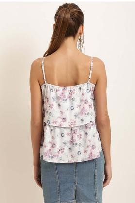 Womens Spaghetti Neck Printed Layered Top