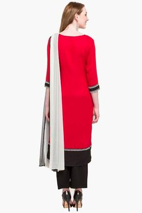 Womens Round Neck Colour Block Palazzo Suit