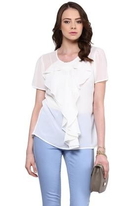 RARE Womens Round Neck Solid Top