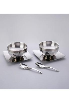 SANJEEV KAPOOR Round Stainless Steel Bowl And Spoon Set Of 3