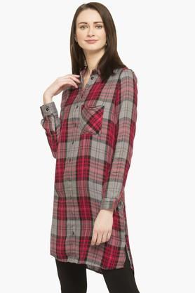 Womens Collared Check Shirt Dress