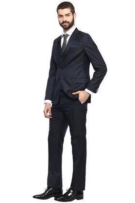 Mens Slub Notched Lapel Suit