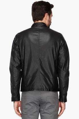 Mens Band Collar Solid Biker Jacket