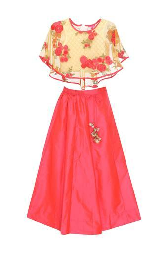 Girls Round Neck Embroidered Top and Skirt Set