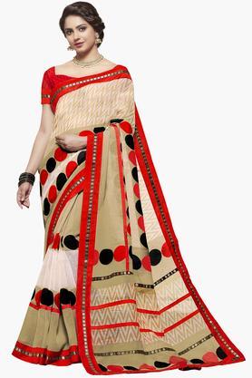 ISHINWomens Jute Silk Printed Saree