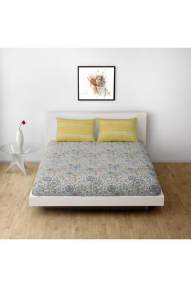 SPACESCotton Printed Double Bedsheet With 2 Pillow Covers - 203257376_9900