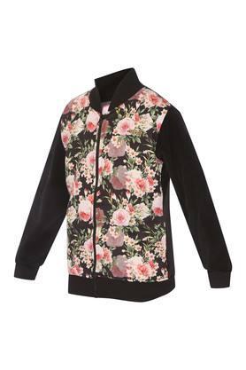 Girls Zip Through Neck Floral Print Sweatshirt