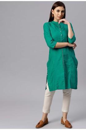 JUNIPERWomens Mandarin Neck Solid Kurta And Pant Set - 204920979_9327