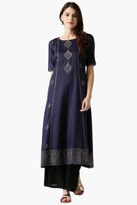 LIBAS Womens Cotton Printed A-Line Kurta
