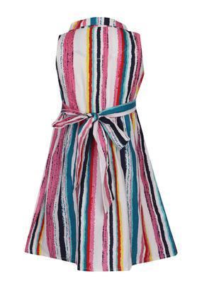 Girls Collared Stripe Flared Shirt Dress
