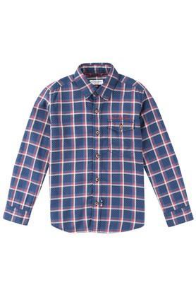 Boys Regular Fit Collared Check Shirt