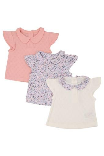 Girls Collared Printed and Self Pattern Top Pack of 3