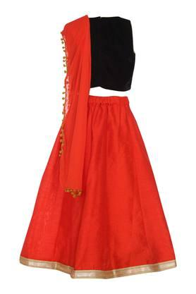 Girls Round Neck Embroidered Ghaghra Choli Dupatta Set