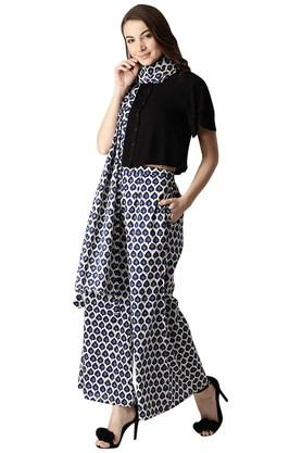 Womens Cotton Printed Palazzo And Stole