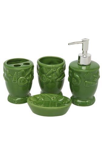 Printed 1 Soap Dispenser 2 Brush Holders and 1 Soap Dish Bath Set