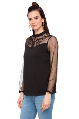 Womens Band Neck Solid Lace Top