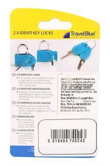 2 x Identi Yellow Travel Key Padlock by Travel Blue