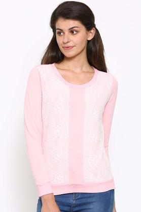 MYSTERE PARIS Womens Round Neck Lace Sweatshirt