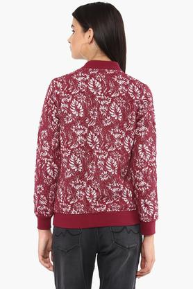 Womens Mao Collar Printed Sweatshirt