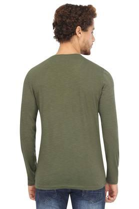Mens Henley Neck Slub T-Shirt