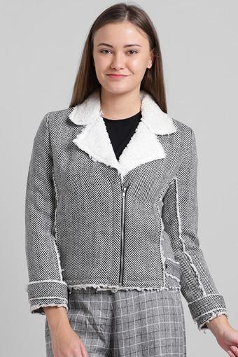 Womens Synthetic Fur Notched Collar Herringbone Jacket