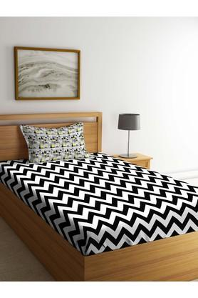 PORTICO Stripe Single Bed Sheet With Pillow Cover - 203989875_9900