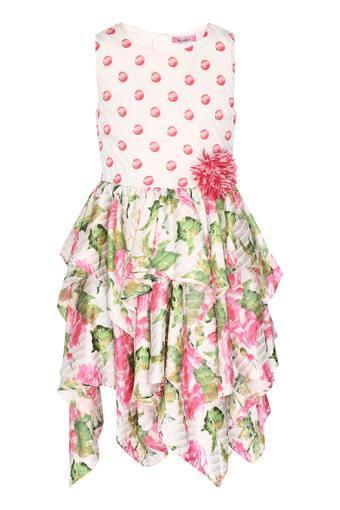 Girls Round Neck Printed Asymmetric Dress