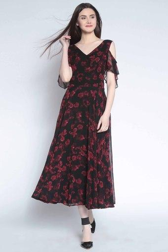 a3ab756c32 Buy RARE Womens V-Neck Floral Print Flared Dress | Shoppers Stop