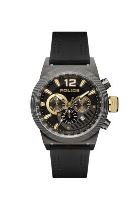 Mens Black Dial Leather Multi-Function Watch - PL15529JSU02