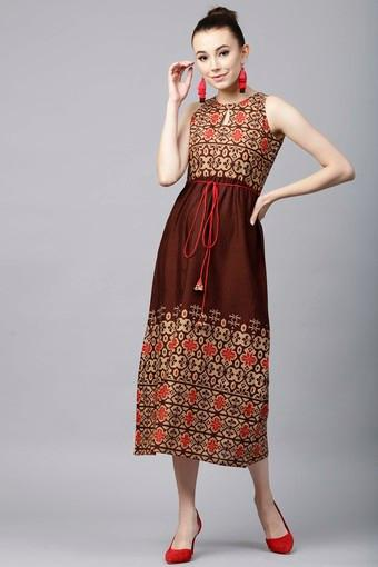 Womens Round Neck Printed Calf Length Dress