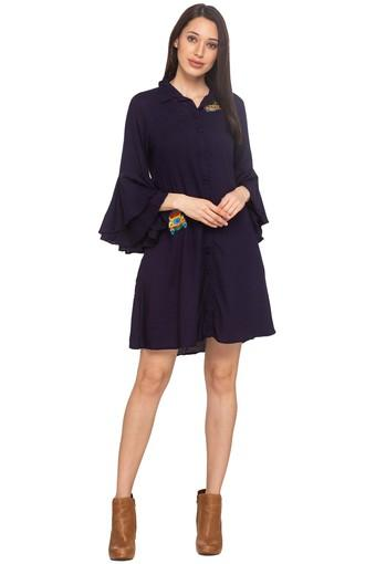 Womens Solid Casual Shirt Dress