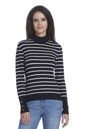 ONLY Womens High Neck Striped Pullover