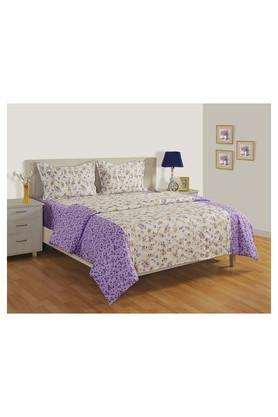 Floral Printed Double Bed Sheet Comforter and Pillow Covers Set