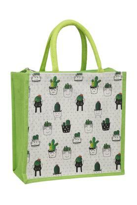 BACK TO EARTHTiny Cacti Printed Multipurpose Jute Bag