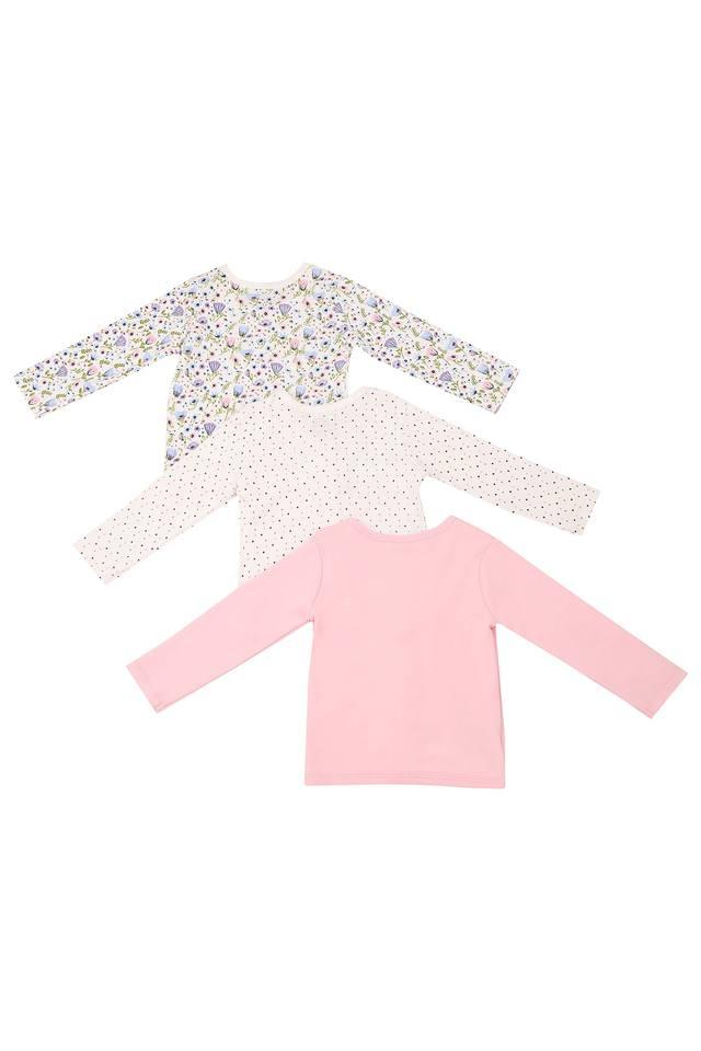 Kids Round Neck Floral Print Dot Pattern and Solid Tee - Pack Of 3