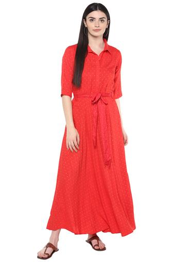 Womens Printed Maxi Dress with Belt