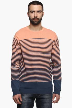 UNITED COLORS OF BENETTONMens Round Neck Stripe Sweater
