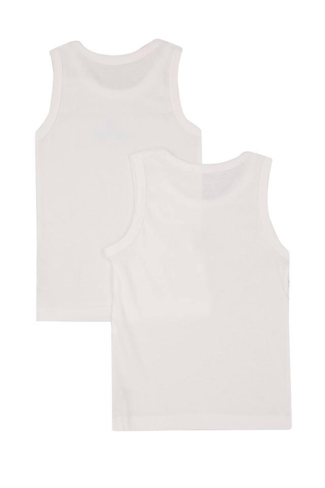 Boys Round Neck Solid Vest - Pack Of 2