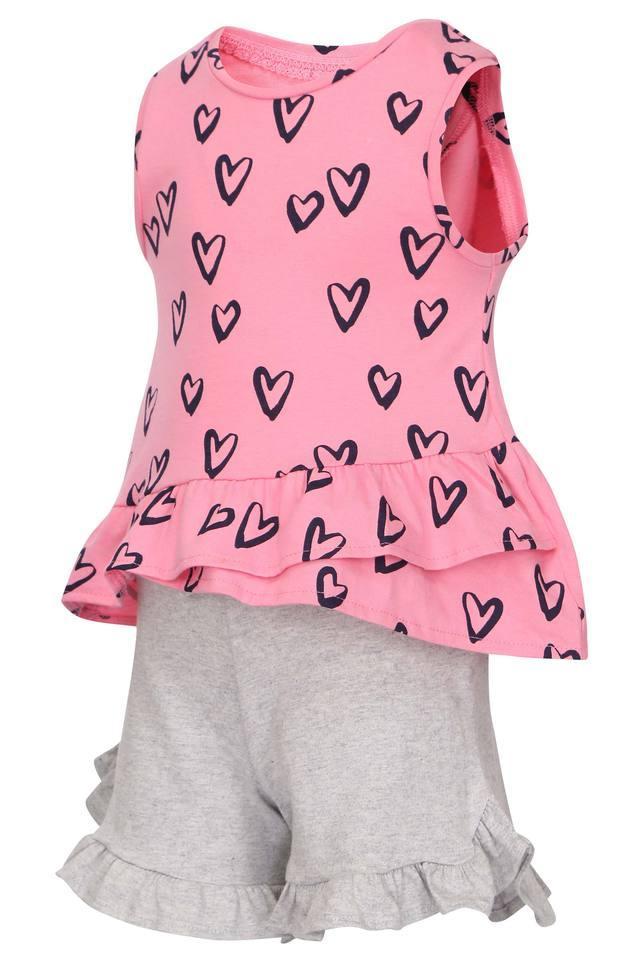 Girls Round Neck Printed Ruffled Shorts and Tops