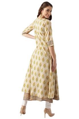 Womens Cotton Printed Aline Kurta And Ethnic Jacket