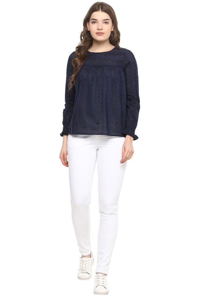 Womens Round Neck Solid Eyelet Top