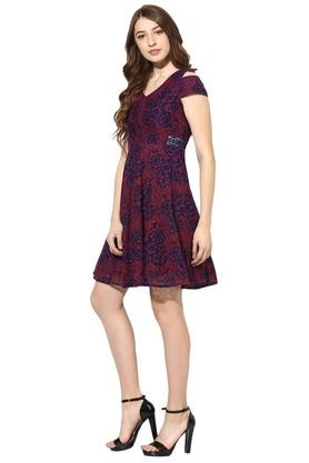 Womens V- Neck Printed Flared Dress