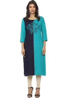 SOCH Womens Round Neck Color Block Embroidered Kurta