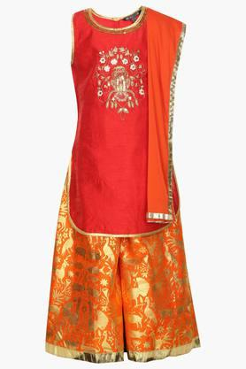 Girls Round Neck Assorted Palazzo Suit