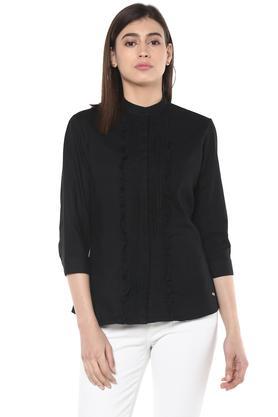 Womens Band Collar Solid Shirt